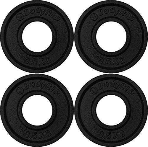 Bodyrip Fraction Weight Plates Olympic 2-Inch - Black, 4 x 0.5 kg
