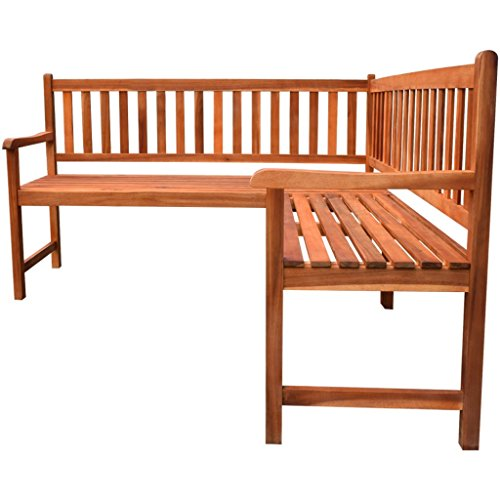 Anself Wooden Garden Corner Bench Seat Garden Furniture Seater