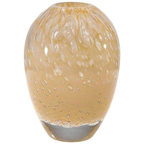 CRISTALICA Vase Blumenvase Bauchvase Bubbles Sand H 16 cm D 11 cm Handgeformt Mundgeblasenes Glas Tischvase Crystal Glass Vase