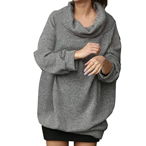 Internet Damen Rollkragenpullover mit langen Ärmeln Rollkragenpullover mit Rollkragen (grau, L)