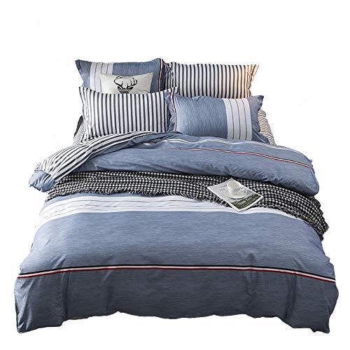 Nokolulu Betten Color Block Gestreift Print Bettbezug Set mit Verstecktem Reißverschluss Weich Atmungsaktiv Langlebig Queen Blau -