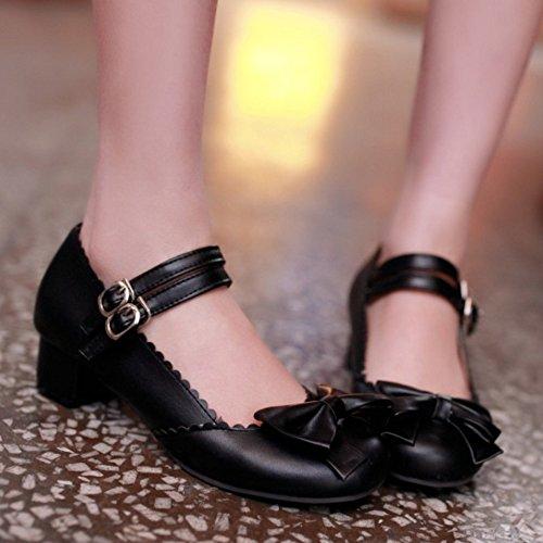 de Cheville Noir Basse Chaussures Sangle TAOFFEN Bas Mode Avec Femme Talon Bowtie qxAnntZB