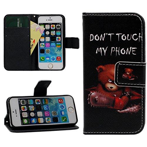 iPhone 5 5S SE Brieftasche Geldbörse Schutzhülle Tasche Hülle, Original Gedruckt Malerei Leicht PU Leder Case - Tier Stil - Don't Touch My Phone schwarz