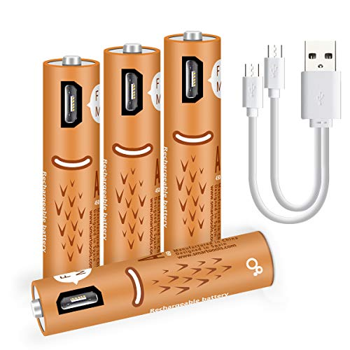 AAA-Batterien, wiederaufladbare AAA-Batterien, 450 mAh mit USB-Anschlüssen - Hochleistungsbatterien, langlebige-4 zählen ... Usb Aaa Batterie