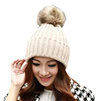 Tianya Womens Girls Winter Crochet Knit Hat Wool Knitted Beanie with Pom Pom Bobble Ski Snowboard Cap (Beige)