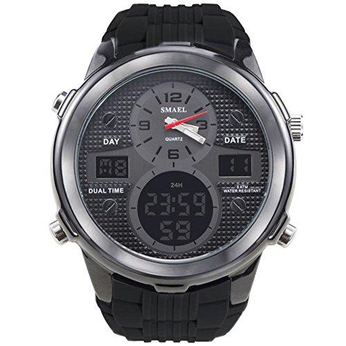 ZHRUIY Armbanduhren ZH-025 Hochwertig Nummer + Zeiger Anzeige Silikon Uhrarmband StoßFest EL-Hintergrundbeleuchtung Sport Im Freien Multifunktional 50m Wasserdicht Gold, Silber, Schwarz