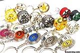 Luxus Schlüsselanhänger aus Metall Felge Auto BBS Vossen Chrom Anhänger Schlüsselring Lederband Leder von VmG-Store (BBS CHR Black Chrom)