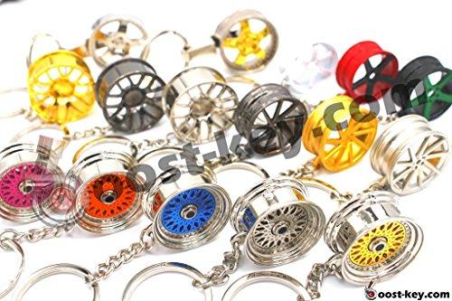 boost-key.com Luxus Schlüsselanhänger aus Metall Felge Auto BBS Vossen Chrom Anhänger Schlüsselring Lederband Leder von VmG-Store (BBS CHR Black Chrom)