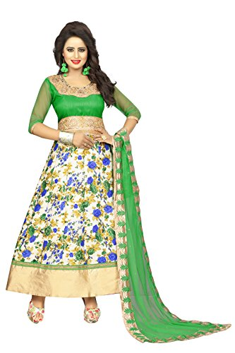 Trishulom Anarkali Suit - Semi Stitched Full Length Banglory Satin Silk Suits For Women Beautiful Ethnic Suits For Festive Occasions Women Long Kurtis - Green