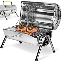 Holz Acero inoxidable Barbacoa picni plegable bbq parrilla tipo barril Portátil grill BBQ jardín camping