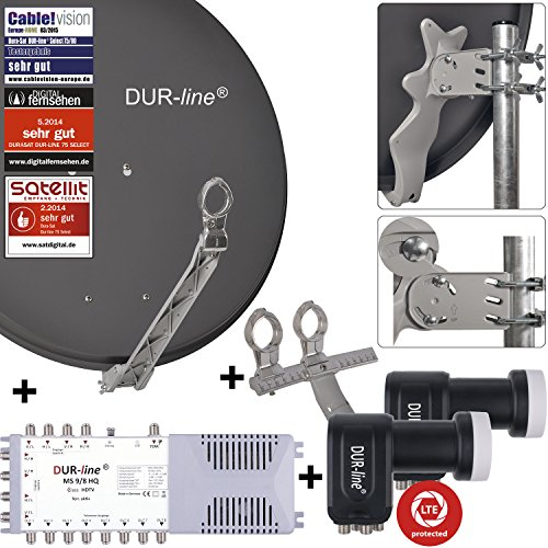 DUR-line 8 TN/2 Satelliten Set - Qualitäts-Alu-Satelliten-Komplettanlage - Select 75/80cm Spiegel/Schüssel Anthrazit + Multischalter + 2xLNB - für 8 Receiver/TV [Neuste Technik, DVB-S2, 4K, 3D]