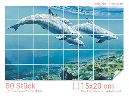 Graz Design 761204_15x20_100 Fliesenaufkleber Delfinen unter Wasser   Bad-Fliesen mit Fliesenbildern überkleben (Fliesenmaß: 15x20cm (BxH)//Bild: 150x100cm (BxH))