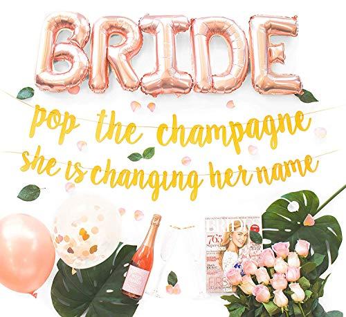 Malibu Moments Bachelorette Party Dekorationsset - Brautdusche Zubehör - Brautschmuck - Schärpe, Ringfolie, Rosenballons, Gold Glitzer Banner - Pop The Champagne she is Change Your Name