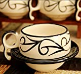 #7: AdoRno - Glossy White and Black Ceramic Cup with Saucers Set- For Kitchen/ Dinning Ware/ Handicrafts/ Gift Items/ Cups/ Tea/ Coffee/ Tea Cups/ Coffee Cups/ Cups, Mugs & Saucers Tea cup Kitchenware Decorative cups Ceramic Tea & Coffee Cup, 150 ml, Set of 6 Pieces Home & Kitchen / Tableware / Dinnerware & Serving Pieces/ Cups, Mugs & Saucers