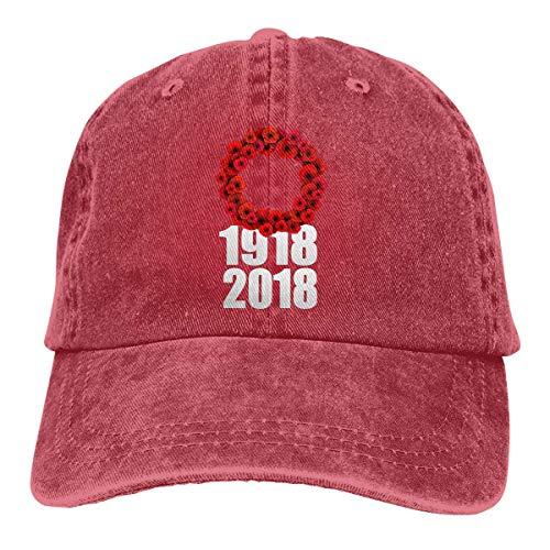 Preisvergleich Produktbild LisaArticles Baseballmütze, Hundertjährige Mohnblumen-Kranz-Denim-Vati-Hüte des Weltkriegs justierbare Baseballmütze