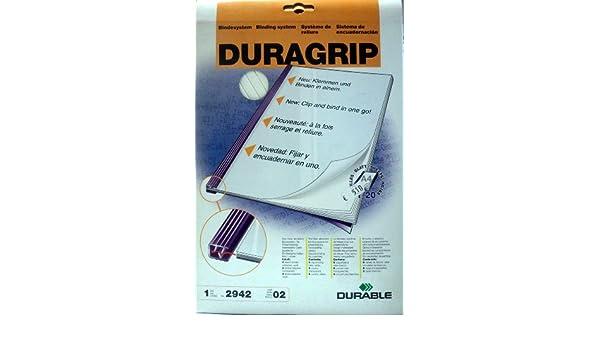 Klemmbindeschienen Durable 2942 DURAGRIP Bindesystem A4 SCHWARZ Einbanddeckel