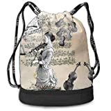 Alice_Home_Collect Oh Maestro Ill Play Back Drawstring Backpack Sports Athletic Gym Cinch Sack String Storage Bags for Hiking Travel Beach