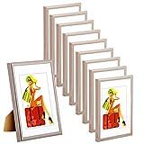 WOLTU #315 Bilderrahmen Bildergalerie Fotogalerie mit Passepartout, Foto Collage Galerie, Kunststoff und Echtglas, New Life Style, Stahl, 15x20 cm, 10er Set