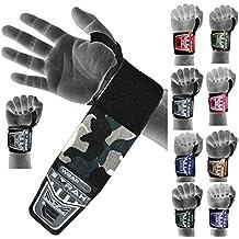 EMRAH - Muñequeras para levantamiento de pesas, diseño de camuflaje, camo grey