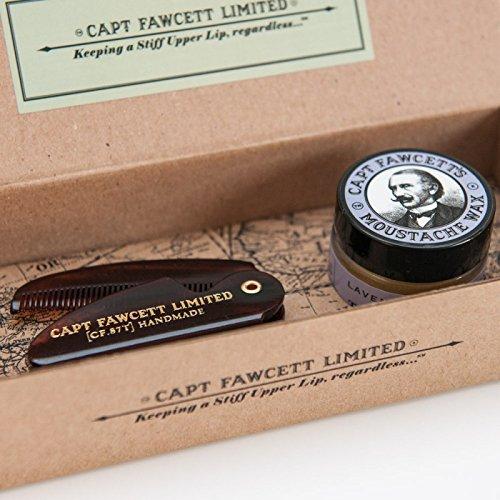 Captain Fawcett's Moustache Wax (Lavender Scent) & Folding Pocket Moustache Comb (CF.87T) Gift Set - Made in England by Captain Fawcett -