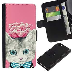 PU Ledergeldbörse Schutzhülle Handyhülle Leather Wallet Case for Apple Iphone 6 // Rose Kitty Kit Kitten Cat Eyes // CooleCell