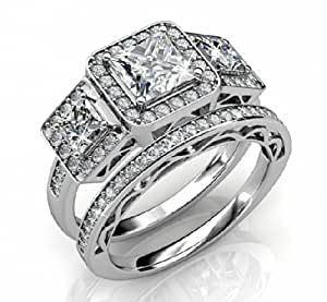 Ladies Ring - 925 Sterling Silver Ladies Luxury Unique Bridal Wedding Band Engagement Ring Set (T)