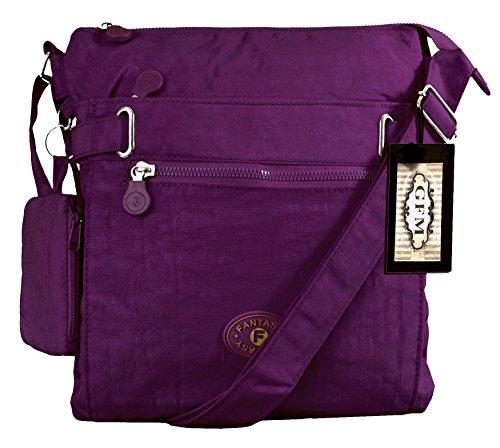 GFM, Borsa a tracolla donna Multicolore multicolore Medium Style 1 - Dark Purple (GHJMN01)
