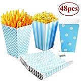 Gudotra 48 PCS Scatole di Popcorn Contenitori Caramelle Popcorn Patatine Grissini per Festa di Compleanno Natale Halloween (Blue)