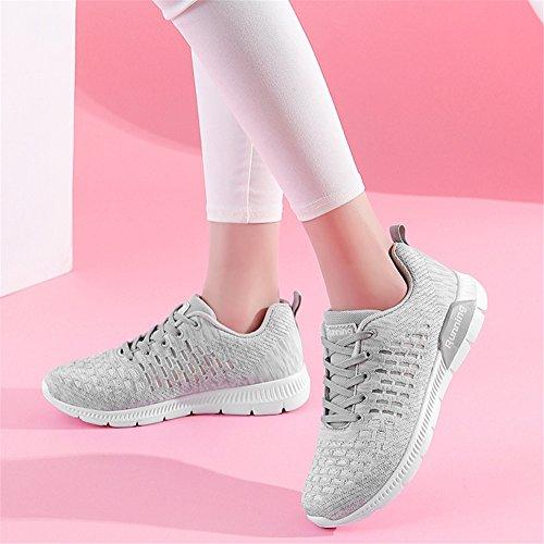 BETY Uomo Donna Scarpe da Ginnastica Respirabile Mesh Sneakers Basse Sportive Corsa Running Sport Fitness Gym Grigio chiaro