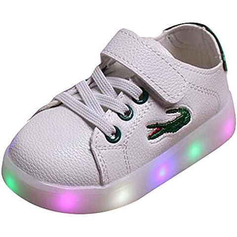 Highdas Ragazzi Ragazze Scarpe LED Carino Crocodile anti slittamento Light Up scarpe da tennis verde dimensione 24
