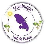 Martinique Fort De France Stamp Autocollant Voiture Decoration de Vinyle 12 X 12 cm