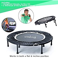 Mini Trampoline Fitness pliable avec inclinaison réglable HIIT BOUNCE PRO Livré avec DVD d'exercices de rebond à haute valeur énergétique et entrainements inclinés. Fitness Trampoline Indoor Jumping