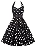 Yafex Pinup Polka Dot Vintage 1950s 1960s Rockabilly Swing Prom Dress Large Black Polka