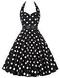 Grace Karin Vintage Retro Festliche Kleider Neckholder Polka Dots Sommerkleid XS~XXXL ZY4599