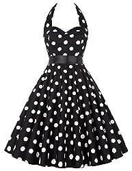 Halter Neck Dress Women Vintage Round Neck Sleeveless Polka Dots Dress M Yf4599-1