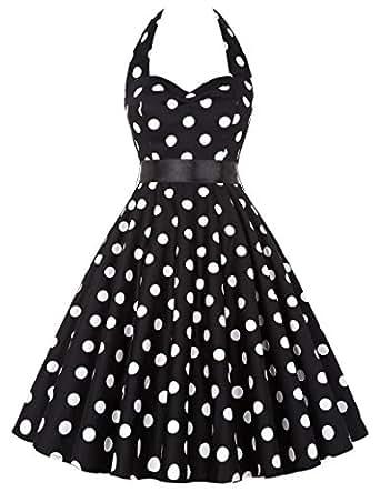 Damen 1950er Style Geburtstagkleider Knielang Sommerkleid XS CL4599-1