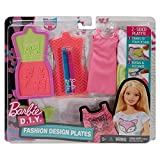 Barbie DYV68 - Fashion Designs Plates, Mode-Muster Set zum Stempeln, pink-gelb