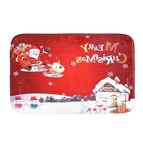 BESTONZON Weihnachten Rutschfeste Willkommen Eingang Fußmatte Fußmatte Vordertür Teppich Schlafzimmer Mats Küche Dekor Fußmatten Teppiche (rot)