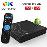 Android 9.0 TV Box, T95 MAX Smart Box 2GB RAM 16GB ROM Allwinner H6 CPU de cuatro núcleos Cortex-A53 Mali-T720MP2 GPU 6K 4K H.265 Resolución 100M LAN Enternet 2.4 GHz WiFi USB 3.0 Reproductor de video