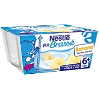 Nestlé Bébé P'tit Brassé Banane - Laitâge dès 6 mois - 4 x 100g - (24 coupelles de 100g)