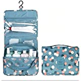 House Of Quirk Portable Toiletry Bag Make Up Storage Pouch Travel Organizer With Large Capacity (Floral Blue)