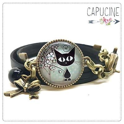 Bracelet noir avec cabochon verre chat - Bracelet breloques bronze - Bracelet multi-rangs - Bracelet Les Quatre Amis - cadeau de noël, cadeau saint valentin, cadeau fête des mères