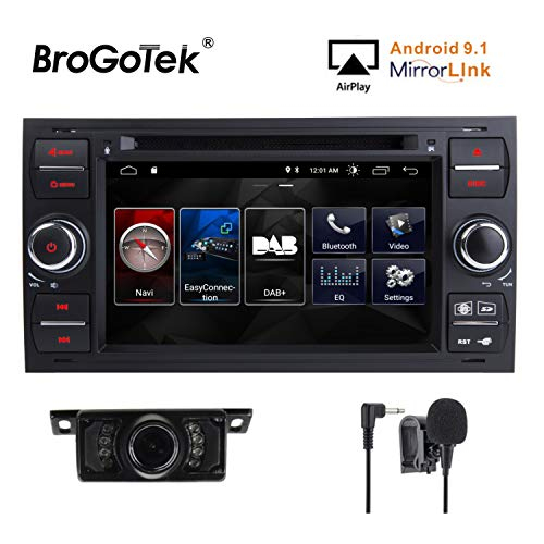 Double Din Auto Stereo Android 5.1 Headunit DAB Radio GPS Sat Nav WiFi Bluetooth BT Stereo DVD CD Player für Ford Fiesta 2005 Kuga 2008-2011 S-Max 2007-2009 AM FM Radio Auto GPS 7 Zoll (Schwarz)