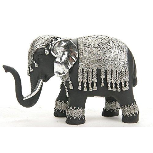 Statuette elephant noir et argent - objet de décoration éléphant