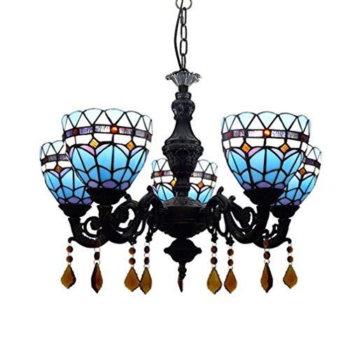 Tiffany-Art-Leuchter-Licht, blaues u. Weißes Muster-Buntglas-Farbton 5-Arm-Schmiedeeisen-hängende Beleuchtung für Wohnzimmer-Decken-hängende Lampe - Fünf Arm Schmiedeeisen Kronleuchter