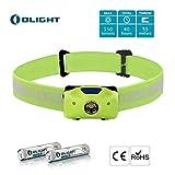 Olight H05 ACTIVE Lampe Frontale LED avec 2 Piles Lithium Iron 1.5V, 150 lumens, Eclairage Vélo/ Lampe de Pêche, Angle Réglable, Indicateur LED Rouge, Lentille TIR - Vert