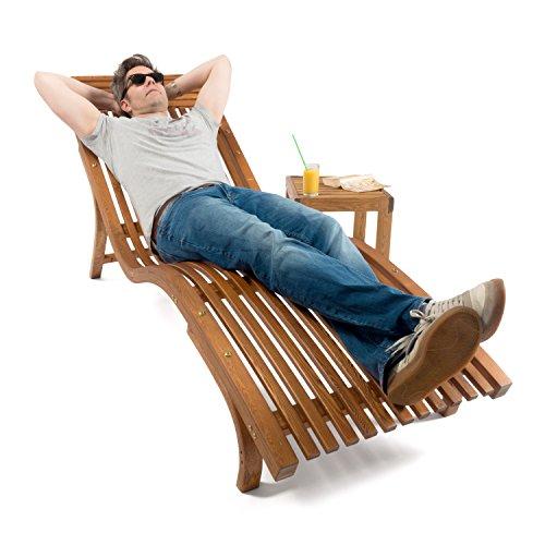 Sonnenliege Cannes   Gartenliege ergonomisch geschwungen   Relaxliege mit wählbarer Liegeposition   wetterfeste Gartenmöbel aus Holz - 6