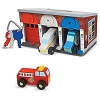Melissa & Doug - 3 garajes y vehículos de Rescate de Madera, Keys & Cars Rescue Garage (14607)