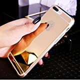 Kompatibel mit iPhone 8 Plus Hülle,iPhone 7 Plus Hülle,Glänzend Kristall Überzug Spiegel TPU Silikon Hülle Tasche Silikon Crystal Durchsichtig Bumper Schutzhülle für iPhone 8 Plus/7 Plus,Gold