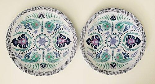 Blumen und Paisley Design | violett | 2Stück türkis Sea Grün Lavendel Dekorieren Weiß 100% Melamin Teller | rund 27,3cm -